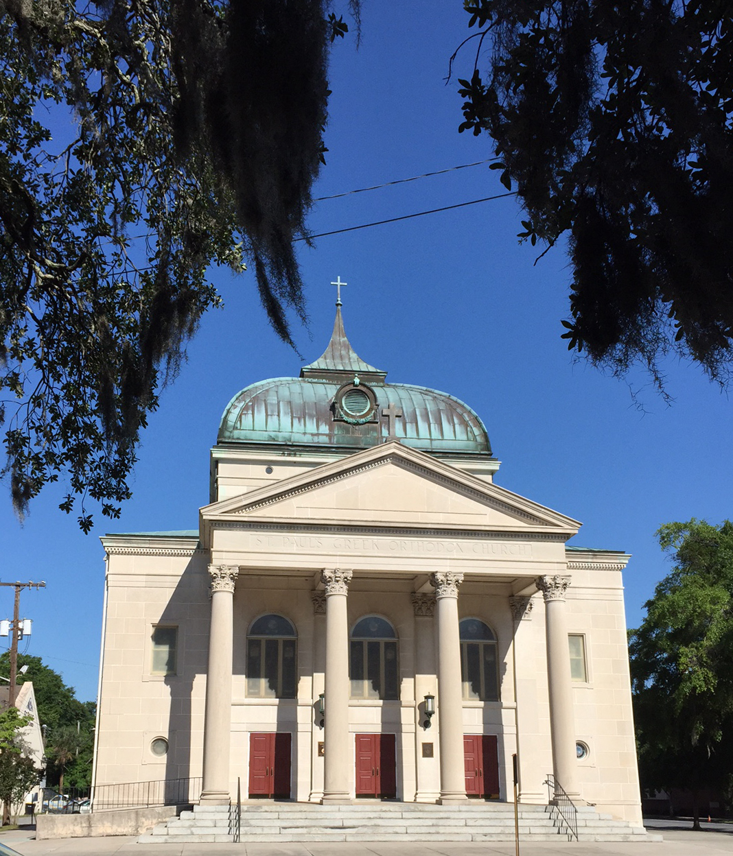 A Savannah Church with beautiful copper dome