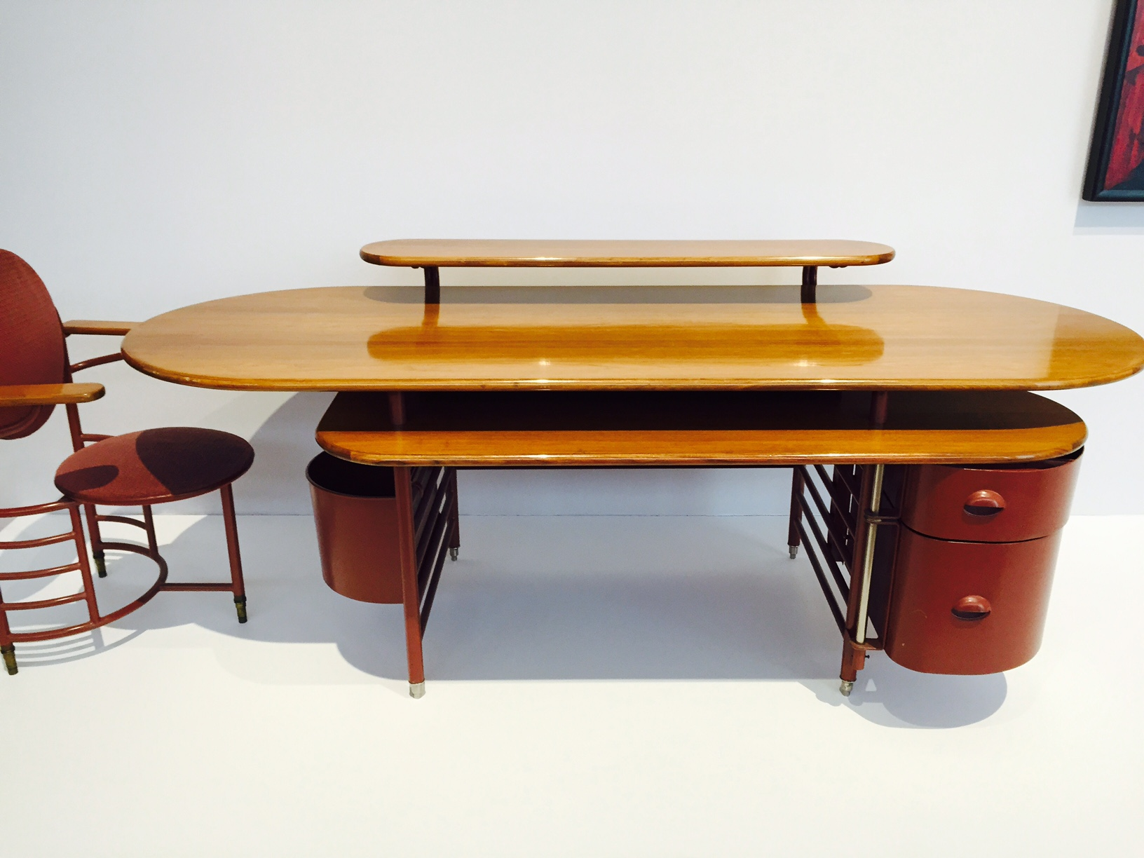 A Frank Lloyd Wright desk and Chair